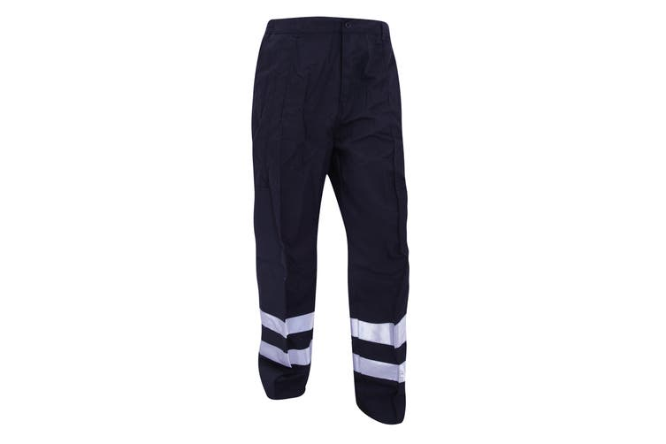 Yoko Mens Reflective Ballistic Trousers (Regular) / Hi Vis Workwear (Pack of 2) (Navy Blue) (48W x Regular)