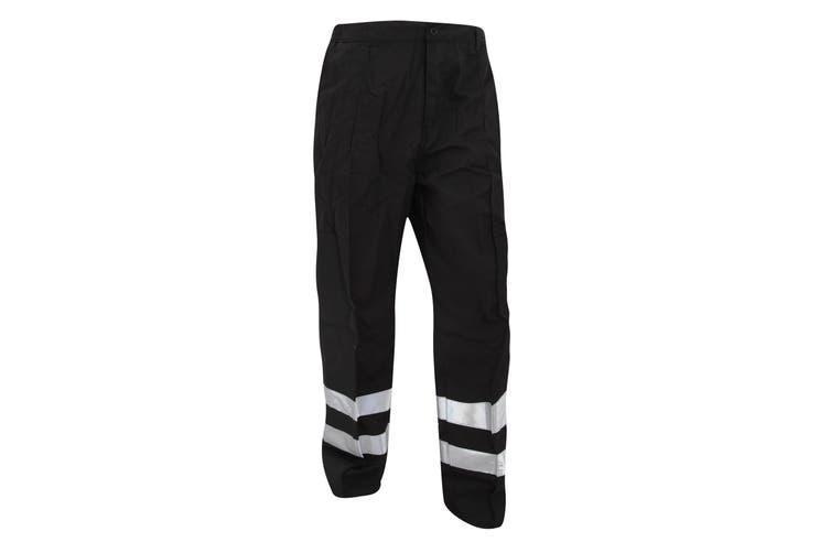 Yoko Mens Reflective Ballistic Trousers (Regular) / Hi Vis Workwear (Pack of 2) (Black) (30W x Regular)