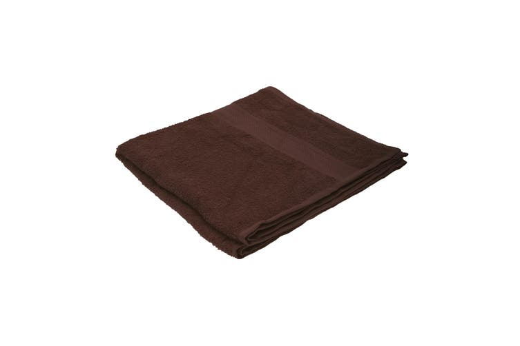 Jassz Plain Bath Towel 70cm x 140cm (350 GSM) (Pack of 2) (Chocolate) (One Size)