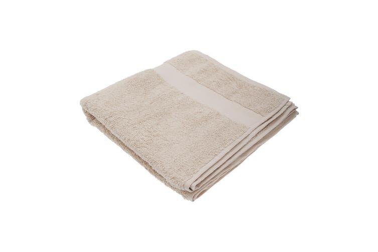 Jassz Premium Heavyweight Plain Bath Towel 70cm x 140cm (550 GSM) (Pack of 2) (Ecru) (One Size)