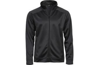 Tee Jays Mens Performance Zip Sweat Jacket (Dark Grey Melange) (3XL)