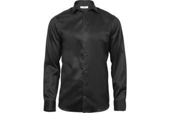 Tee Jays Mens Luxury Slim Fit Shirt (Black) (2XL)