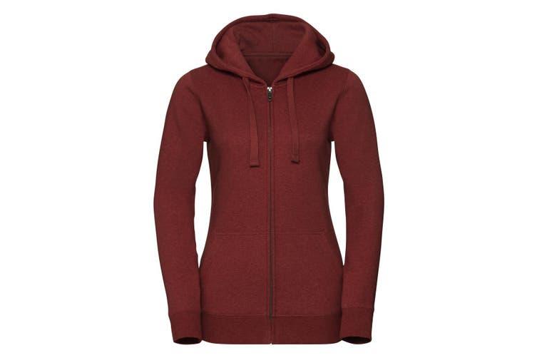 Russell Womens/Ladies Authentic Zipped Hoodie (Brick Red Melange) (L)