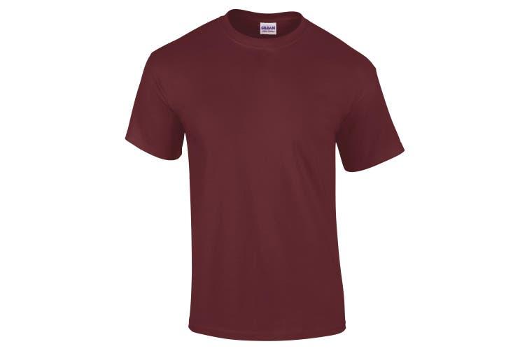 Gildan Mens Ultra Cotton Short Sleeve T-Shirt (Maroon) (XL)