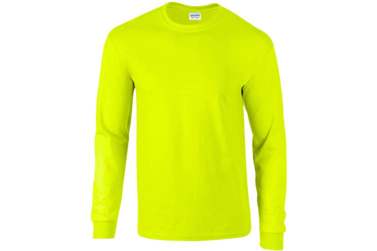 Gildan Mens Plain Crew Neck Ultra Cotton Long Sleeve T-Shirt (New Safety Green) (M)