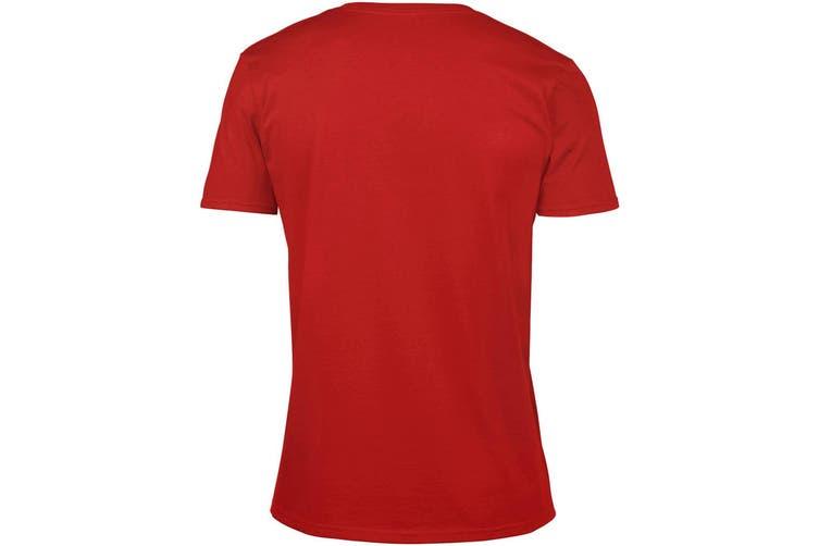 Gildan Mens Soft Style V-Neck Short Sleeve T-Shirt (Red) (S)