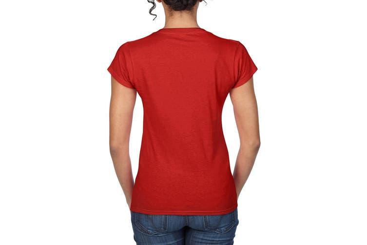 Gildan Ladies Soft Style Short Sleeve V-Neck T-Shirt (Red) (M)