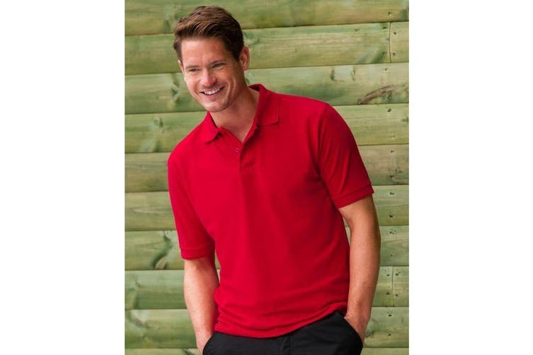 Russell Mens Ripple Collar & Cuff Short Sleeve Polo Shirt (Bright Red) (M)