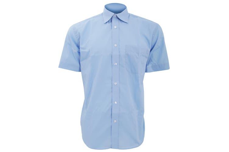 Kustom Kit Mens Short Sleeve Business Shirt (Light Blue) (18inch)