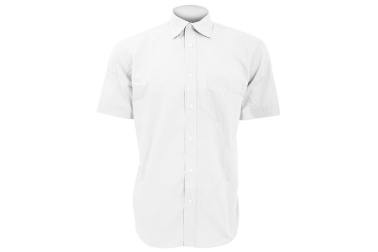 Kustom Kit Mens Short Sleeve Business Shirt (White) (19inch)