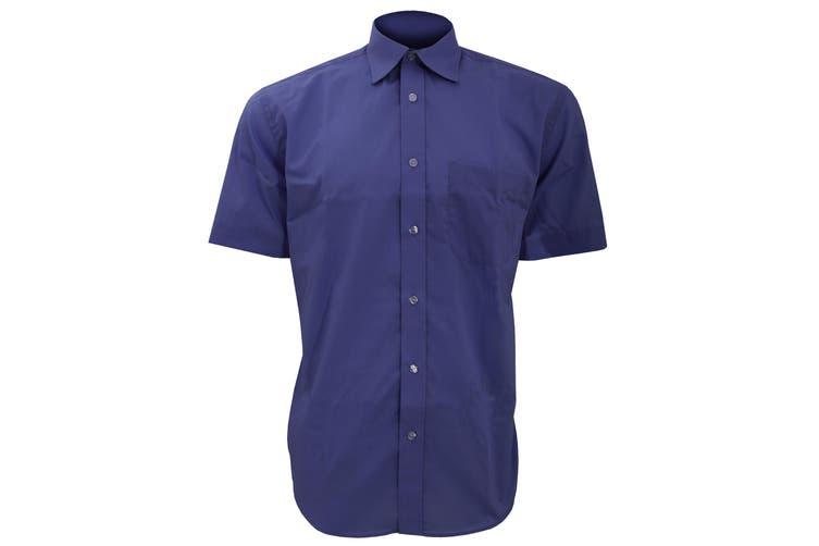 Kustom Kit Mens Short Sleeve Business Shirt (Dark Navy) (16.5inch)