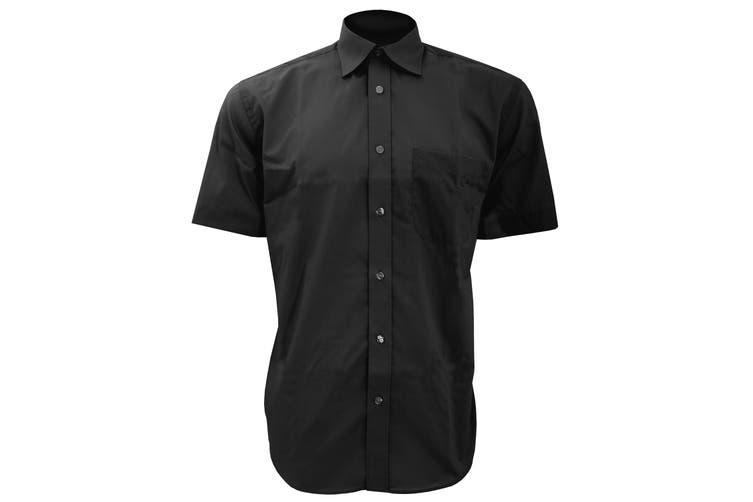 Kustom Kit Mens Short Sleeve Business Shirt (Black) (18inch)