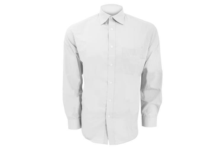 Kustom Kit Mens Long Sleeve Business Shirt (White) (15.5inch)