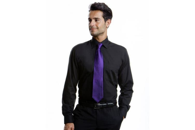 Kustom Kit Mens Long Sleeve Business Shirt (Black) (18.5inch)