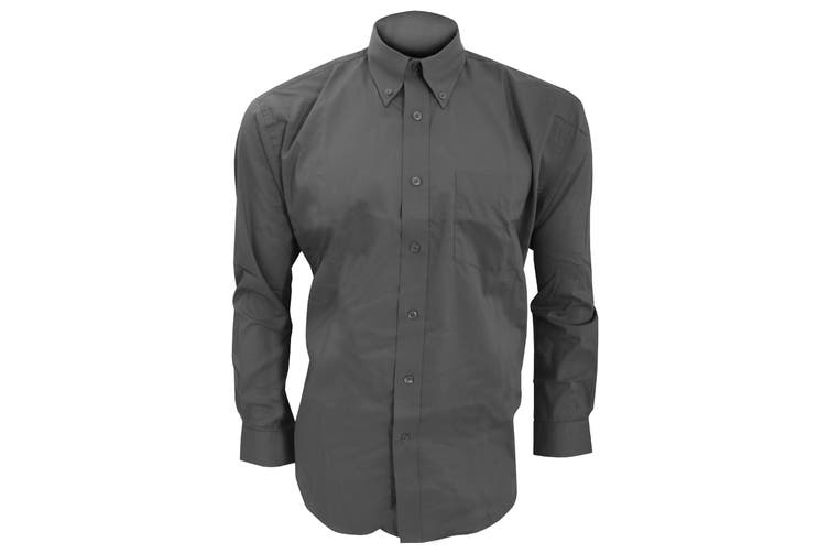 Kustom Kit Mens Long Sleeve Corporate Oxford Shirt (Charcoal) (16.5inch)