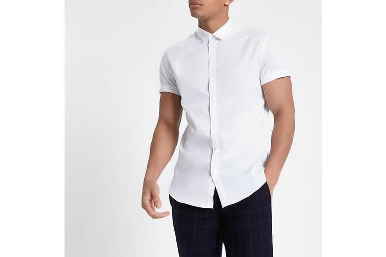 Kustom Kit Mens Short Sleeve Corporate Oxford Shirt (White) (18inch)