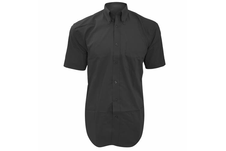 Kustom Kit Mens Short Sleeve Corporate Oxford Shirt (Charcoal) (17.5inch)
