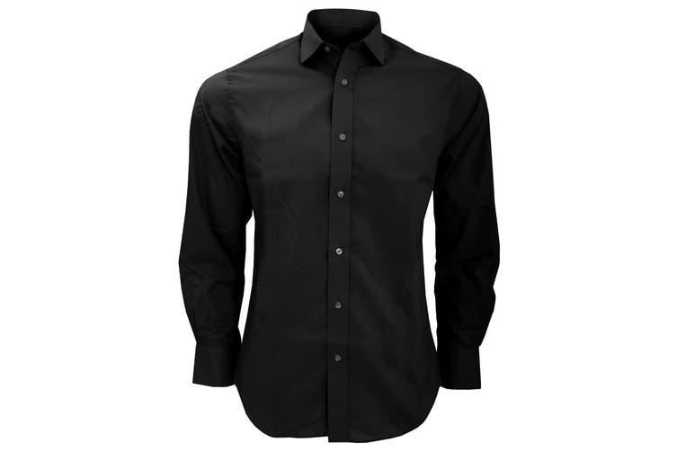 Kustom Kit Mens Tailored Fit Long Sleeved Business Shirt (Black) (15.5inch)