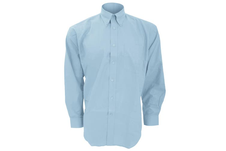 Kustom Kit Mens Workwear Oxford Long Sleeve Shirt (Light Blue) (16inch)