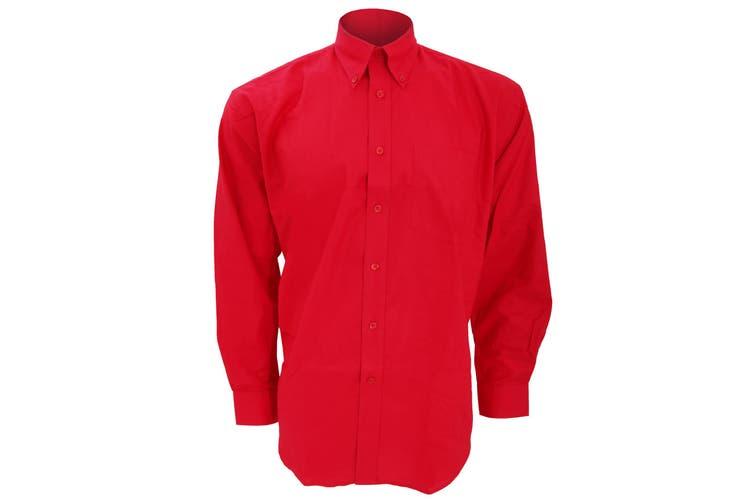 Kustom Kit Mens Workwear Oxford Long Sleeve Shirt (Red) (16inch)