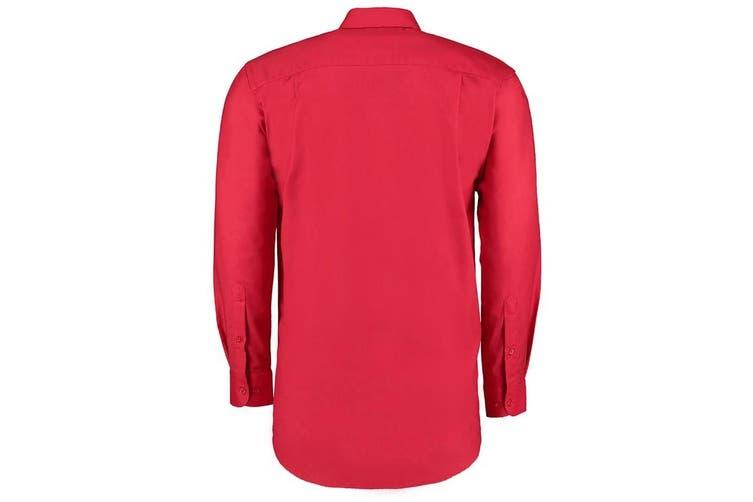 Kustom Kit Mens Workwear Oxford Long Sleeve Shirt (Red) (23inch)