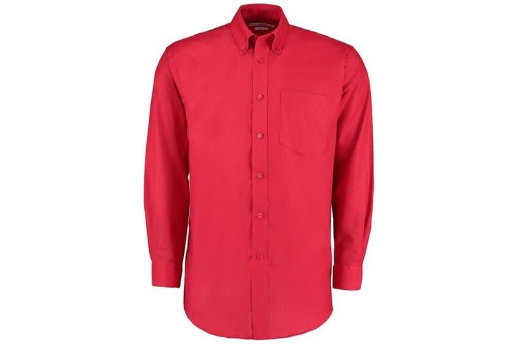 Kustom Kit Mens Workwear Oxford Long Sleeve Shirt (Red) (21inch)
