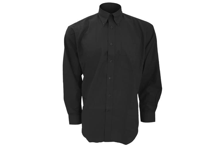 Kustom Kit Mens Workwear Oxford Long Sleeve Shirt (Black) (18inch)