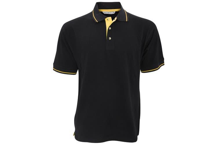 Kustom Kit Mens St. Mellion Mens Short Sleeve Polo Shirt (Black/Yellow) (S)