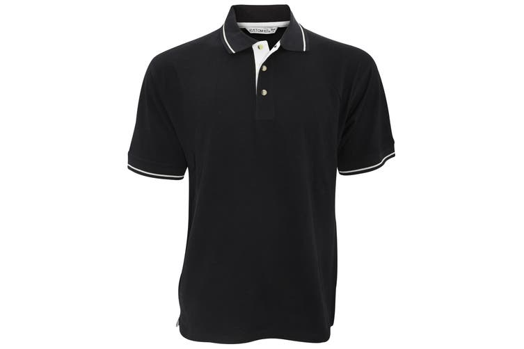 Kustom Kit Mens St. Mellion Mens Short Sleeve Polo Shirt (Black/White) (XS)