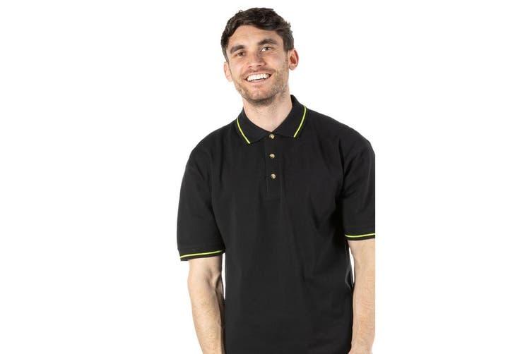 Kustom Kit Mens St. Mellion Mens Short Sleeve Polo Shirt (Black/Lime) (XL)