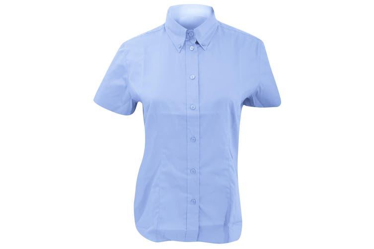 Kustom Kit Ladies Corporate Oxford Short Sleeve Shirt (Light Blue) (26)