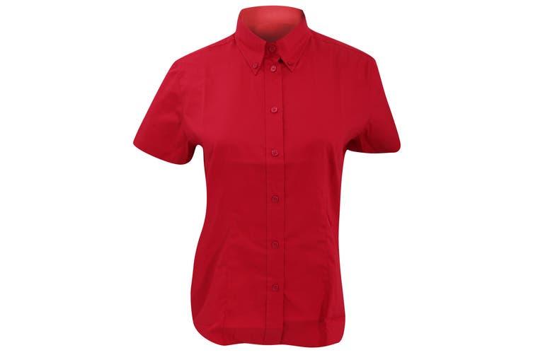 Kustom Kit Ladies Corporate Oxford Short Sleeve Shirt (Red) (8)