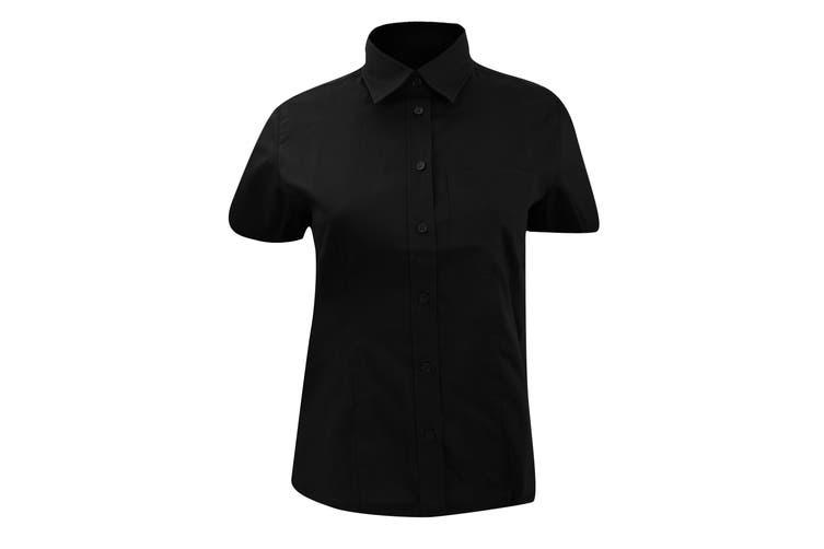 Kustom Kit Ladies Short Sleeve Corporate Pocket Oxford Shirt (Black) (20)