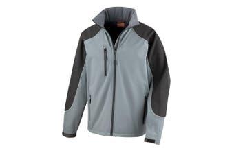 Result Mens Ice Fell Hooded Softshell Breathable Waterproof Jacket (345 GSM) (Grey/Black) (L)