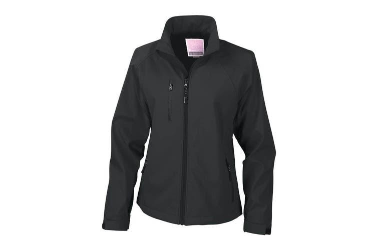 Result Ladies/Womens La Femme® 2 Layer Base Softshell Breathable Wind Resistant Jacket (Black) (2XL)