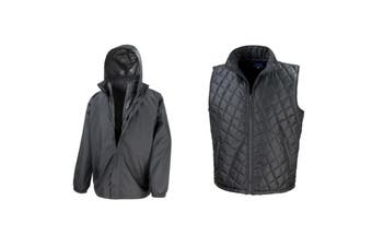 Result Mens Core 3-in-1 Jacket With Quilted Bodywarmer Jacket (Black) (XS)