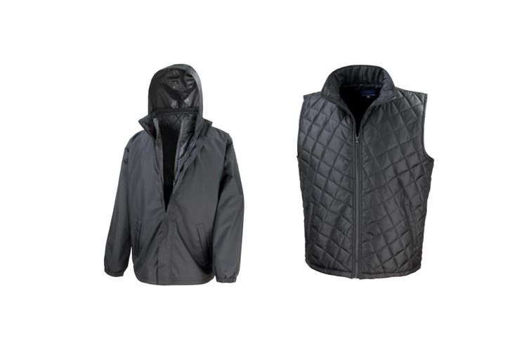 Result Mens Core 3-in-1 Jacket With Quilted Bodywarmer Jacket (Black) (2XL)