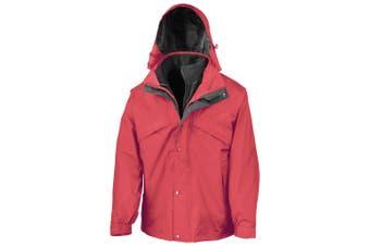 Result Mens 3 In 1 Zip And Clip StormDri Waterproof Windproof Jacket (Red) (2XL)