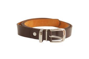 """Forest Belts Mens 0.75 Inch Plain Skinny Leather Belt (Brown) (Large (36""""-40""""))"""