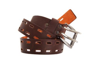 "Forest Belts Mens 1.50 Inch Plain Leather Belt With Twin Pronged Buckle (Brown) (Large (36""-40""))"