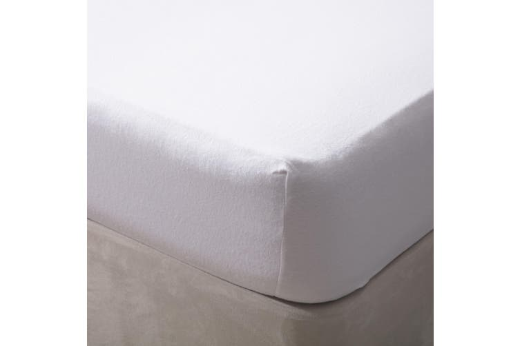Belledorm Jersey Cotton Fitted Sheet (White) (Double)