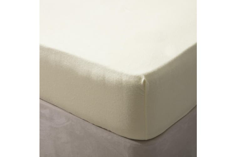 Belledorm Jersey Cotton Fitted Sheet (Ivory) (Kingsize)