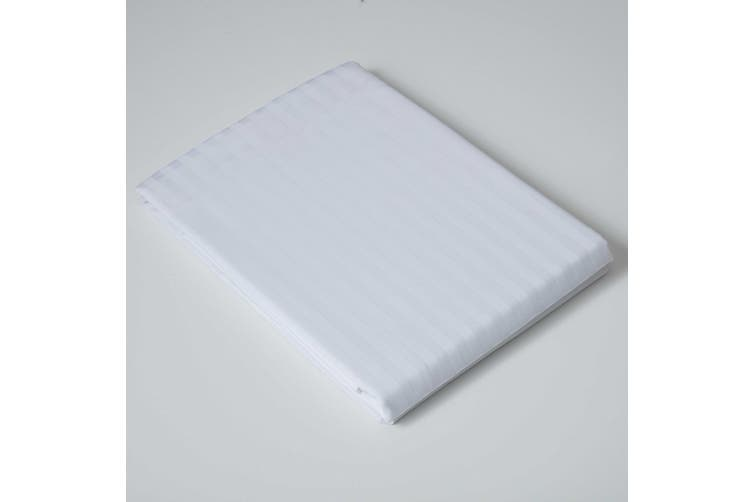 Belledorm 540 Thread Count Satin Stripe Flat Sheet (White) (Single)