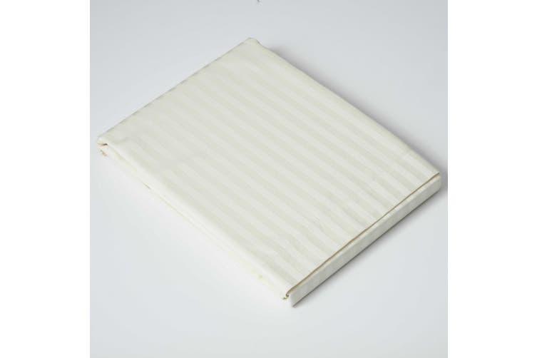Belledorm 540 Thread Count Satin Stripe Flat Sheet (Ivory) (Double)