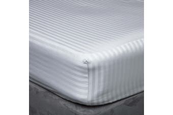 Belledorm 540 Thread Count Satin Stripe Extra Deep Fitted Sheet (Platinum) (Single)