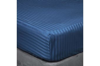 Belledorm 540 Thread Count Satin Stripe Extra Deep Fitted Sheet (Navy) (Kingsize)