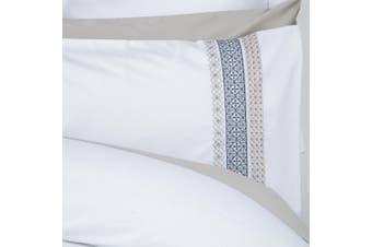 Belledorm Chatsworth Duvet Cover Set (White/Grey/Blue) (Single)