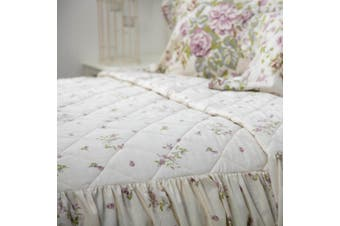 Belledorm Rose Boutique Fitted Bedspread (Ivory/Pink/Green) (Double)