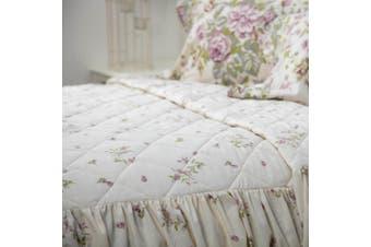 Belledorm Rose Boutique Fitted Bedspread (Ivory/Pink/Green) (Kingsize)