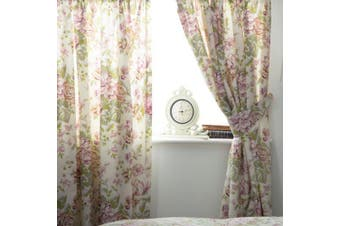 Belledorm Rose Boutique Lined Curtains (Ivory/Pink/Green) - UTBM278